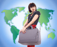 Young stylish woman traveling Stock Image