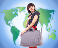 Young stylish woman traveling Stock Photography
