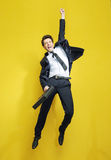 Young succesful businessman in the victory jump Stock Photography