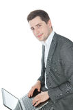 Young success businessman with laptop Royalty Free Stock Photo
