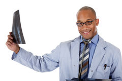 Young successful African American man doctor, xray Stock Photo