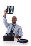 Young successful African American man doctor, xray Royalty Free Stock Photography