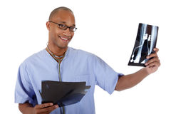 Young successful African American man doctor, xray Royalty Free Stock Image