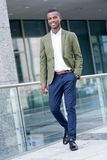 Young successful african business man outdoor in summer Stock Images