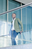 Young successful african business man outdoor in summer Royalty Free Stock Photography