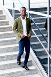 Young successful african business man outdoor in summer Royalty Free Stock Image