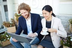 Outdoor meeting. Young successful associates with laptop reading online information outdoors Stock Photography