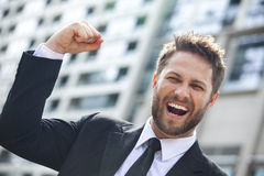 Young Successful Business Man Celebrating in City Royalty Free Stock Image