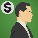 Young successful business man with a dollar sign vector icon. Stock Image