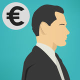 Young successful business man with a euro sign vector icon. Royalty Free Stock Photos