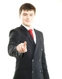 Young successful business man pressing imaginary button Stock Photos
