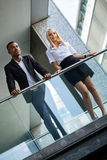 Young successful business man and woman outdoor Stock Photo