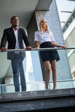 Young successful business man and woman outdoor Royalty Free Stock Photos
