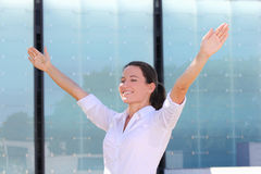 Young successful business woman dreaming outside Royalty Free Stock Photo