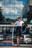 Successful business woman urban fashion lifestyle stock photos