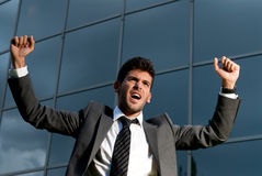 Young successful businessman celebrating a goal Stock Photos