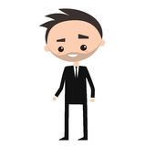 Young successful businessman wearing black suit. Cartoon character Royalty Free Stock Photos