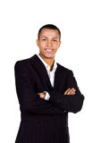Young successful businessman on white stock photography