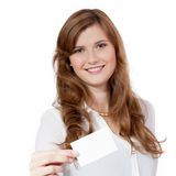 Young successful businesswoman with blank business card Royalty Free Stock Image
