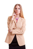 Young successful businesswoman isolated on white background Royalty Free Stock Photo