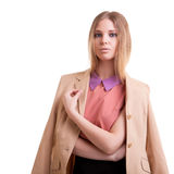 Young and successful businesswoman on white Royalty Free Stock Photos