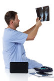 Young successful caucasian man doctor, x-ray Royalty Free Stock Images