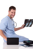 Young successful caucasian man doctor, xray Royalty Free Stock Photo