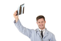 Young successful caucasian man doctor, xrays Royalty Free Stock Images