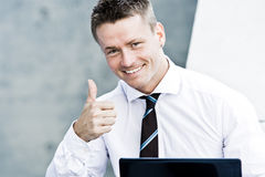 Young Successful Corporate Man. Showing His Enthusiasm Stock Photo