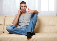 Young successful man making a call Stock Photo