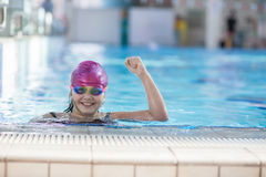 Young and successful swimmers pose Royalty Free Stock Photography