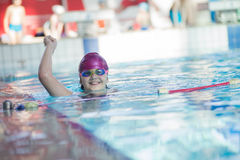 Young and successful swimmers pose Royalty Free Stock Photo