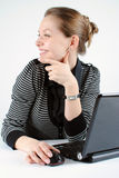 Young successful woman. Working at desk with laptop stock photos