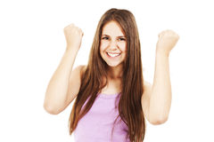 Young successful woman in joyful celebration. Stock Image