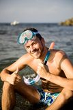 Young summer diving man with swimming mask Stock Image