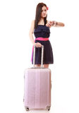 Young summer girl with travel suitcase isolated Stock Photo