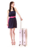 Young summer girl with travel suitcase isolated Royalty Free Stock Photography