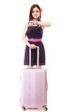 Young summer girl with travel suitcase isolated Royalty Free Stock Photos