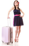 Young summer girl with travel suitcase isolated Stock Photography
