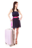 Young summer girl with travel suitcase isolated Stock Images