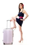 Young summer girl with travel suitcase on white Stock Photo