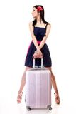 Young summer girl with travel suitcase on white Stock Photography