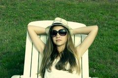 Young sunbathing Stock Image