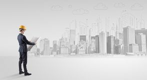 Architect standing and replanning a city panorama vector illustration