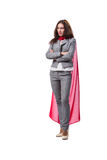 The young superwoman isolated on white Stock Image