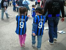 Young Supporters Inter Football Club Milan Royalty Free Stock Images