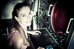 Young supports military equipment. Young supports military radar equipment royalty free stock images