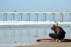 Young surfer stock photos