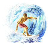 Young surfer on a board catching a wave Royalty Free Stock Images