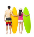 Young surfer couple with surfboard Royalty Free Stock Images